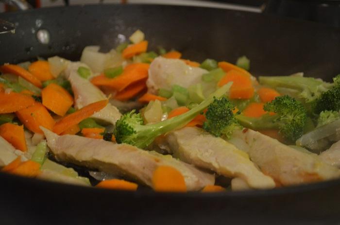 starting the stir fry