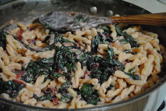 stirring up the pasta with cream and swiss chard