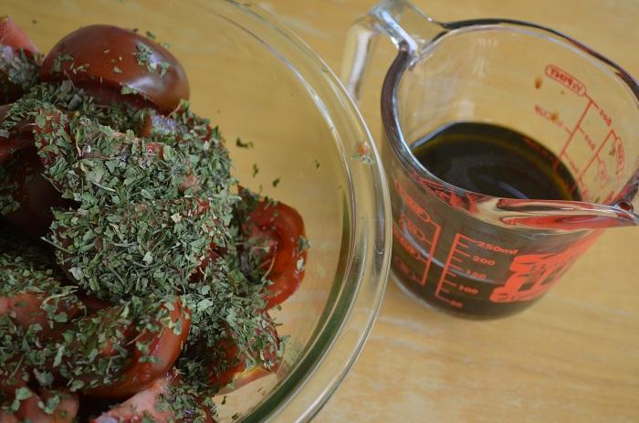 tomato and vinaigrette on the side