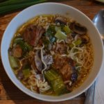 top view lamb ramen soup