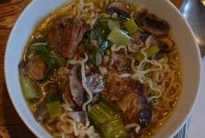 top view lamb ramen soup