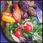 turkish bulgur kofte, grilled peppers and salad