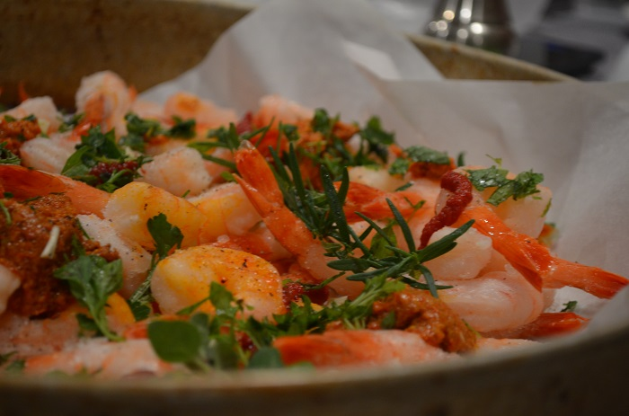 up close of shrimp with fresh garden herbs