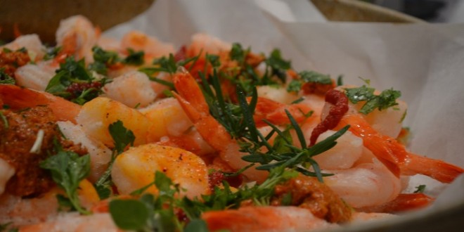Baked Shrimp with Garlic, Fresh Herbs and Red Pepper Paste