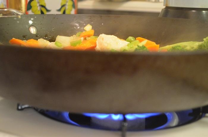 veggies over flame
