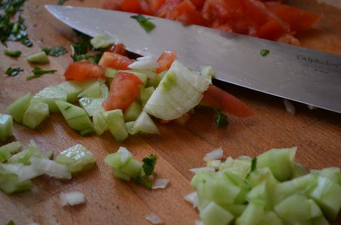 very chopped ingredients