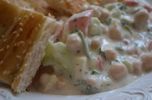 yogurt salad with pita