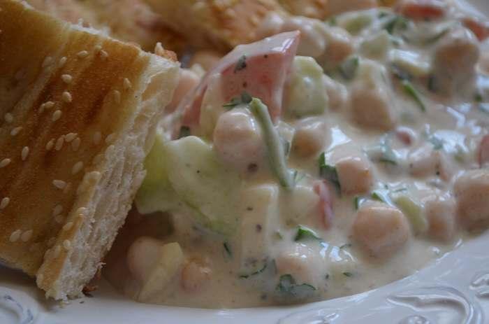 yogurt salad with pita