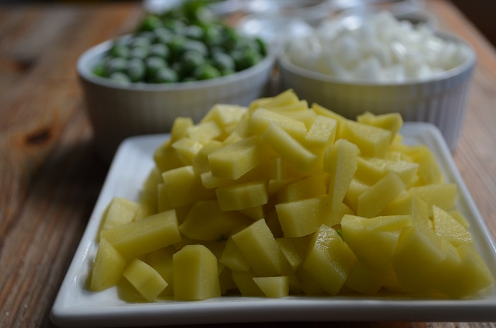 yukon gold potatoes all cut up